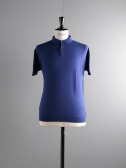 JOHN SMEDLEY | RHODES Serge Blue コットン半袖ポロシャツの商品画像
