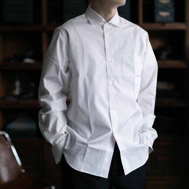 サンリミットのワイドカラーブロードシャツのホワイトの通販