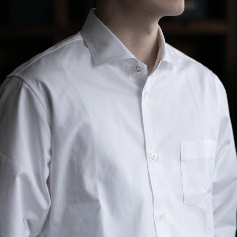 sans limiteのワイドカラーブロードシャツのホワイトの通販
