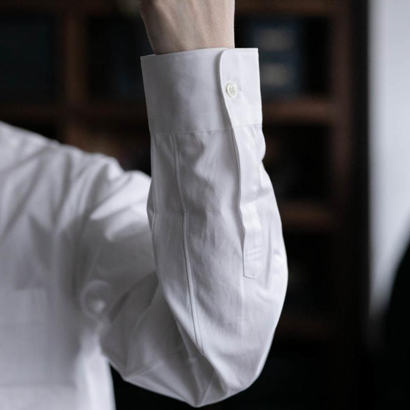 サンリミットのワイドカラーブロードシャツのホワイトの取り扱い