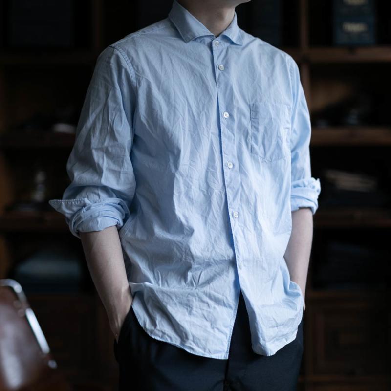 サンリミットのワイドカラーブロードシャツのサックスブルーの通販