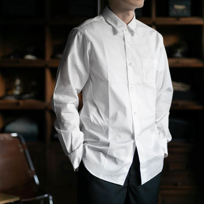 サンリミットのレギュラーカラーブロードシャツのホワイトの通販