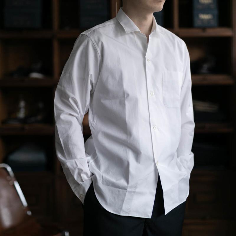 サンリミットの小開襟ブロードシャツのホワイトの通販