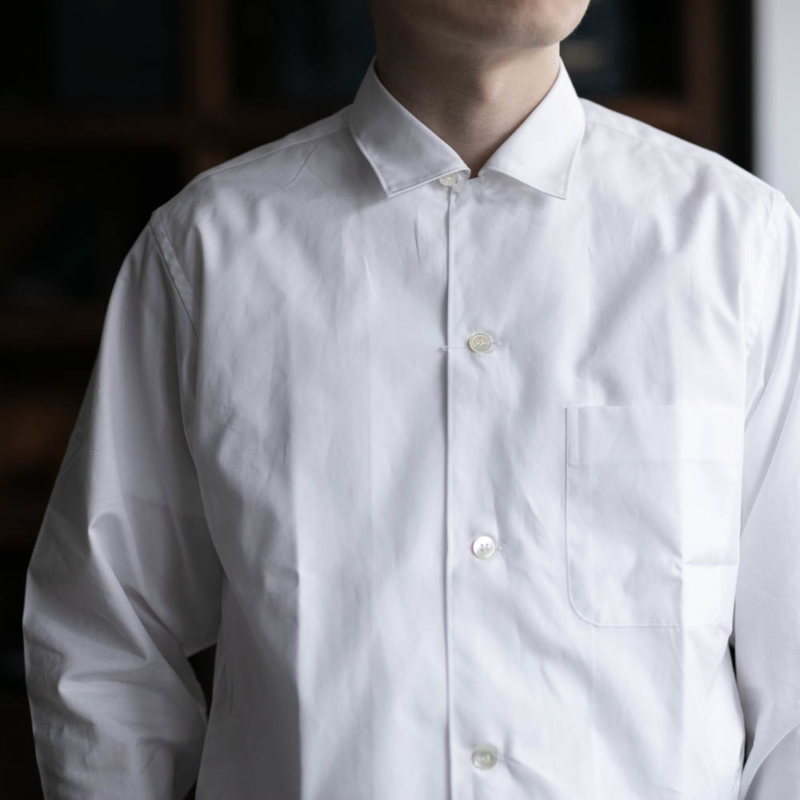 サンリミットの小開襟ブロードシャツの白色の取り扱い