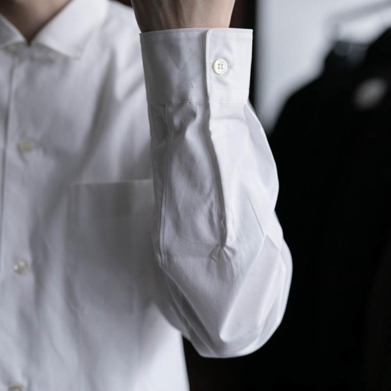サンリミットの小開襟オープンカラーブロードシャツの白色の取り扱い