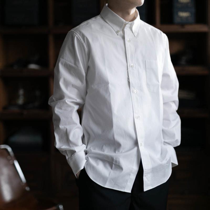 サンリミットのボタンダウンカラーブロードシャツのホワイトの通販