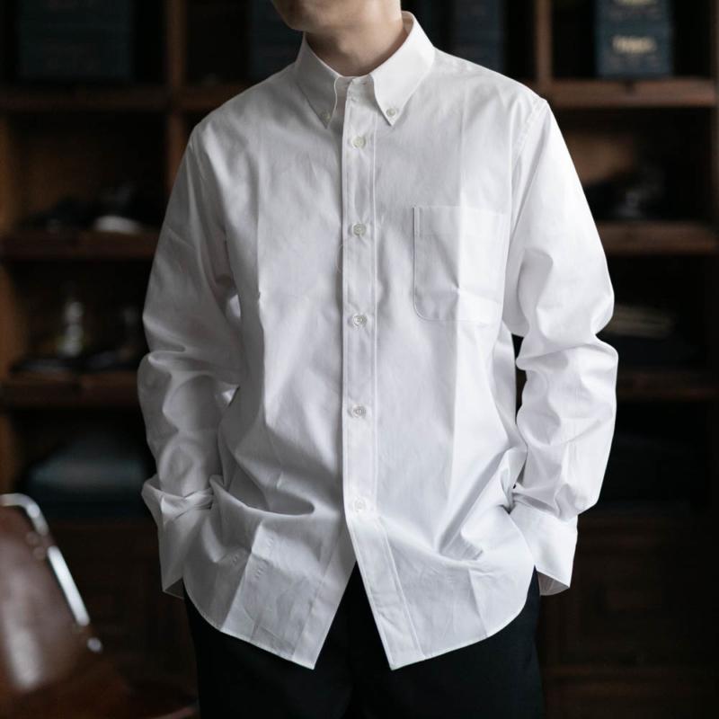 サンリミットのボタンダウンブロードシャツのホワイトの取り扱い