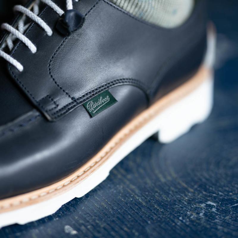 パラブーツ女性用革靴シャンボードのネイビーの通販