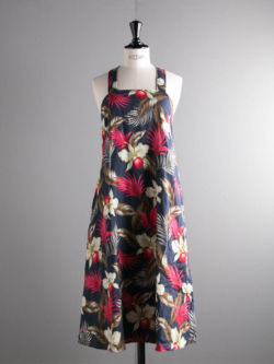 ENGINEERED GARMENTS | CROSS BACK DRESS - HAWAIIAN FLORAL JAVA CLOTH Navy クロスバックドレス