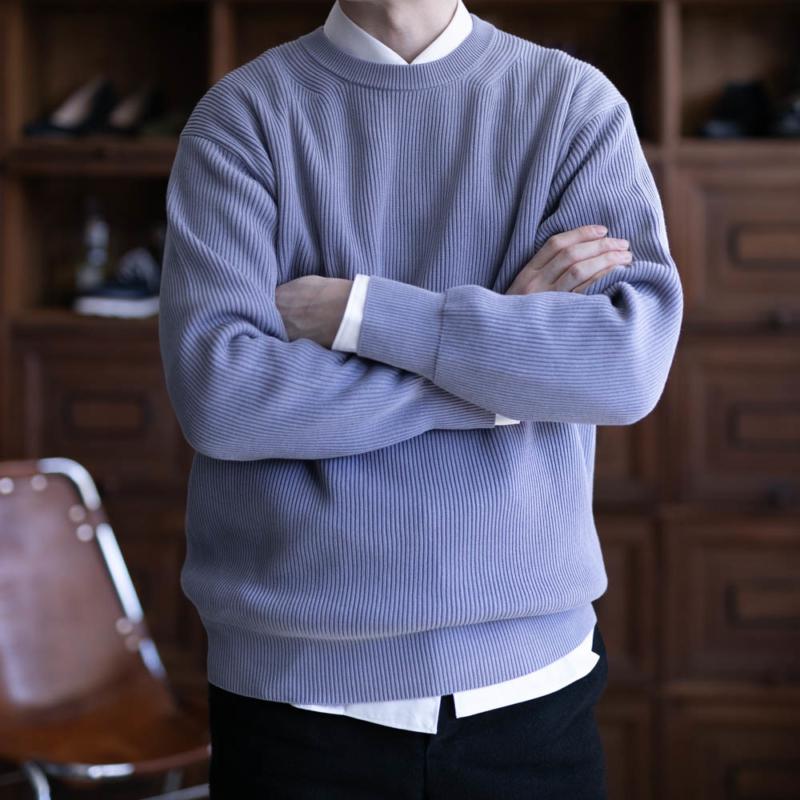バトナーのメンズコットン畦編みニットセーターの取り扱い