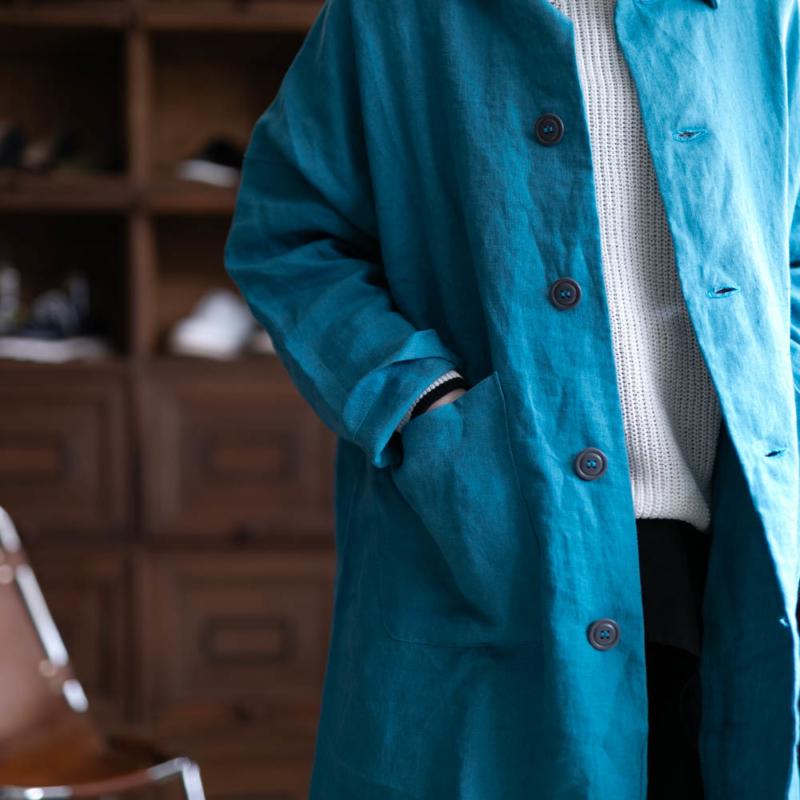 yarmoのリネンステンカラーコートのブルーの取り扱い