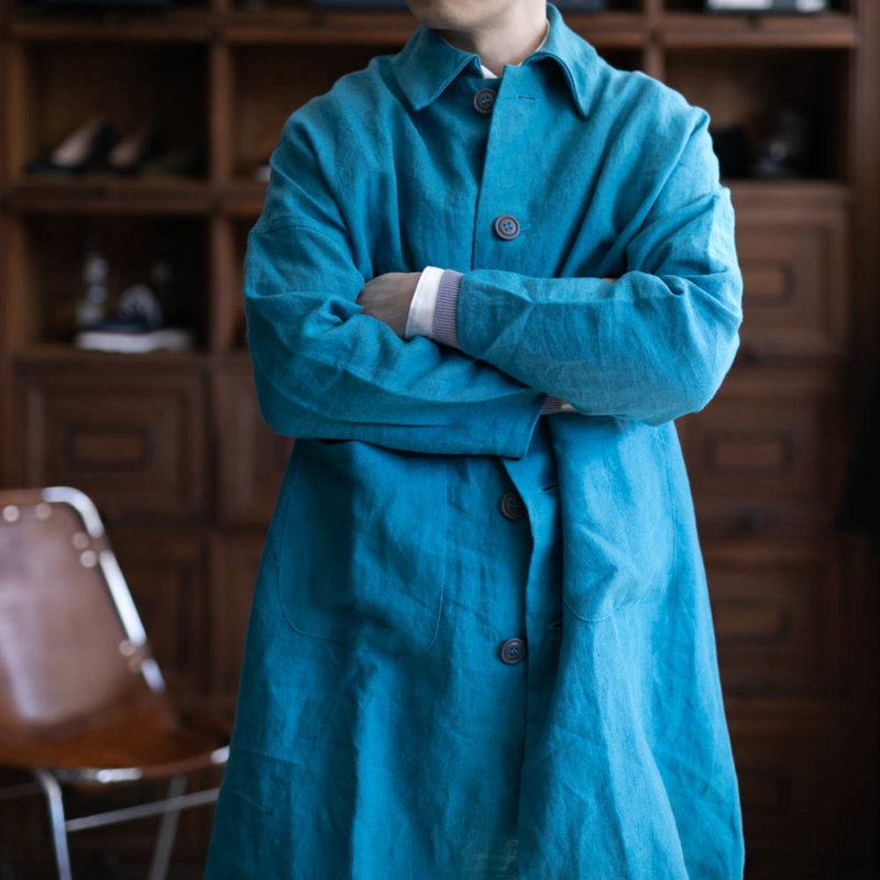 ヤーモのブリスベンモスリネンダスターコートのブルーの通販