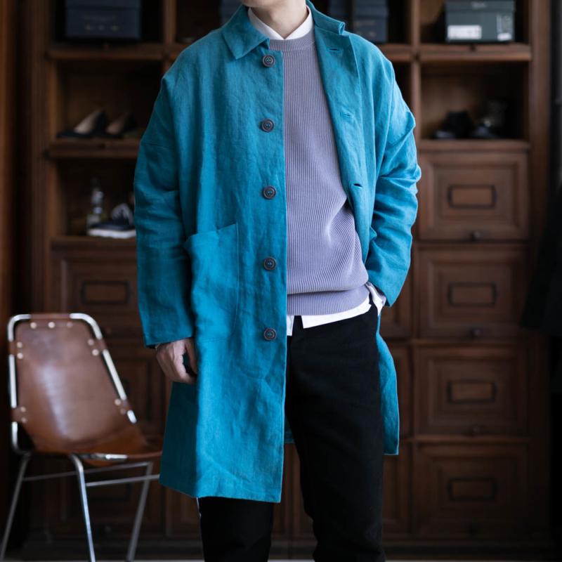 yarmoのブリスベンモスリネンduster coatのblueの通販
