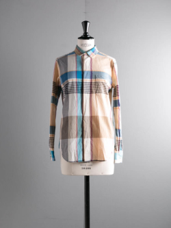 ENGINEERED GARMENTS | SHORT COLLAR SHIRT FOR WOMAN – BIG MADRAS PLAID Khaki ショートカラーシャツ