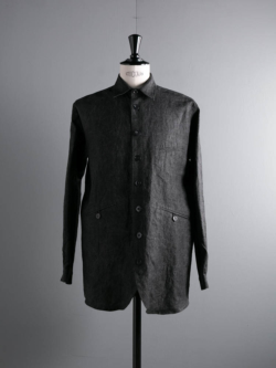 FRANK LEDER | CHARCOAL DYED FLAX SHIRTJACKET 89:Dk Brown 炭染めカバーオールの商品画像