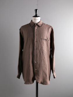 FRANK LEDER | EDGE DETAIL LINEN SHIRT 84:Lt Brown スモーキーリネンシャツの商品画像