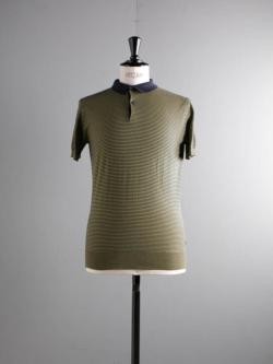 JOHN SMEDLEY | ETTON Navy コットン半袖ボーダーポロシャツの商品画像