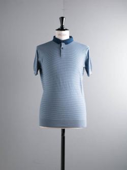 JOHN SMEDLEY | ETTON Indigo コットン半袖ボーダーポロシャツの商品画像