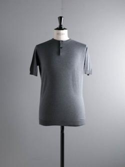 JOHN SMEDLEY | BENNETT Charcoal コットン半袖ヘンリーネックニットの商品画像