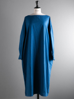 YARMO | SMOCK DRESS WITH CHIEF COTTON CAMBRIC Blue チーフ付きスモックワンピース