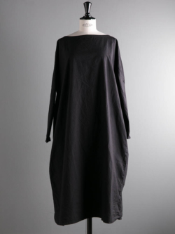 YARMO | SMOCK DRESS WITH CHIEF COTTON CAMBRIC Black チーフ付きスモックワンピース