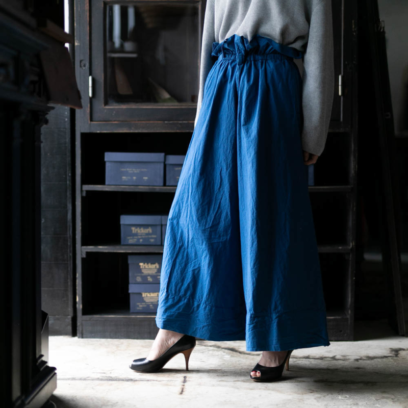 ヤーモ DRAWING WIDE CULOTTES PANTS COTTON CAMBRIC ブルー