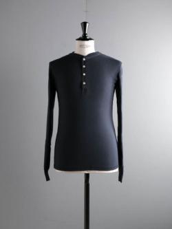 Schiesser | KARL-HEINZ LONG SLEEVE HENLEY Blue Black 長袖ヘンリーネックカットソー カールハインツの商品画像