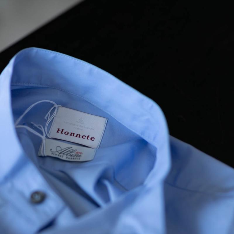 HONNETE STAND COLLAR TUNIC DRESS ALBINI POPLIN Sax Blueの通販取り扱い