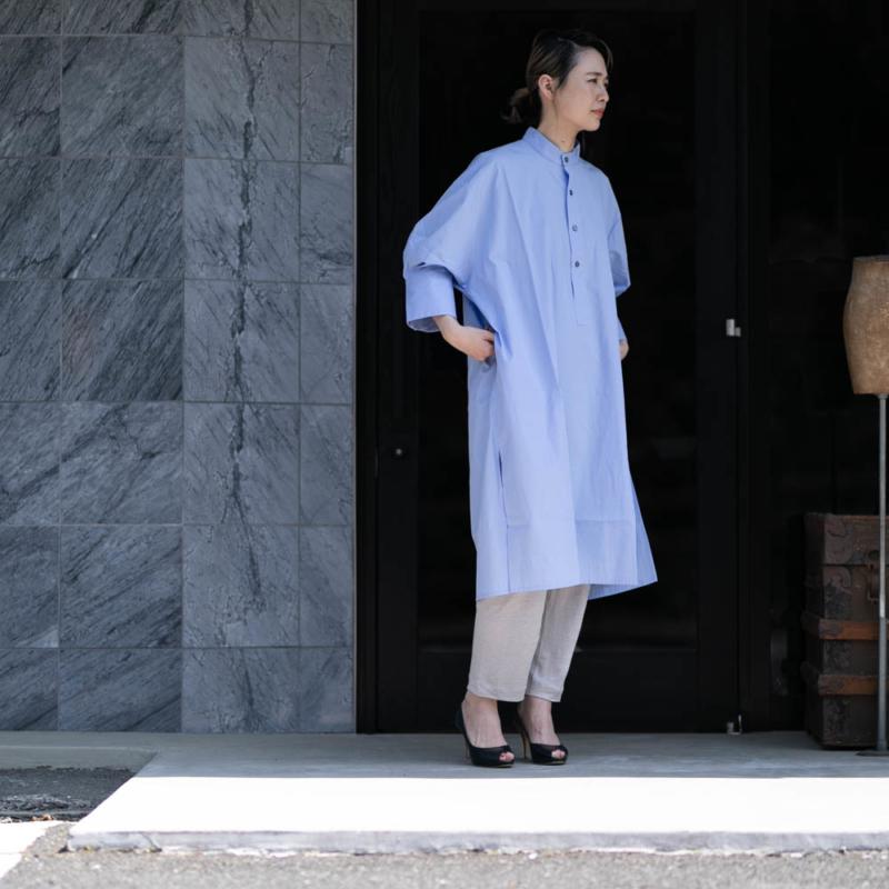 オネット STAND COLLAR TUNIC DRESS ALBINI POPLIN Sax Blueの通販取り扱い