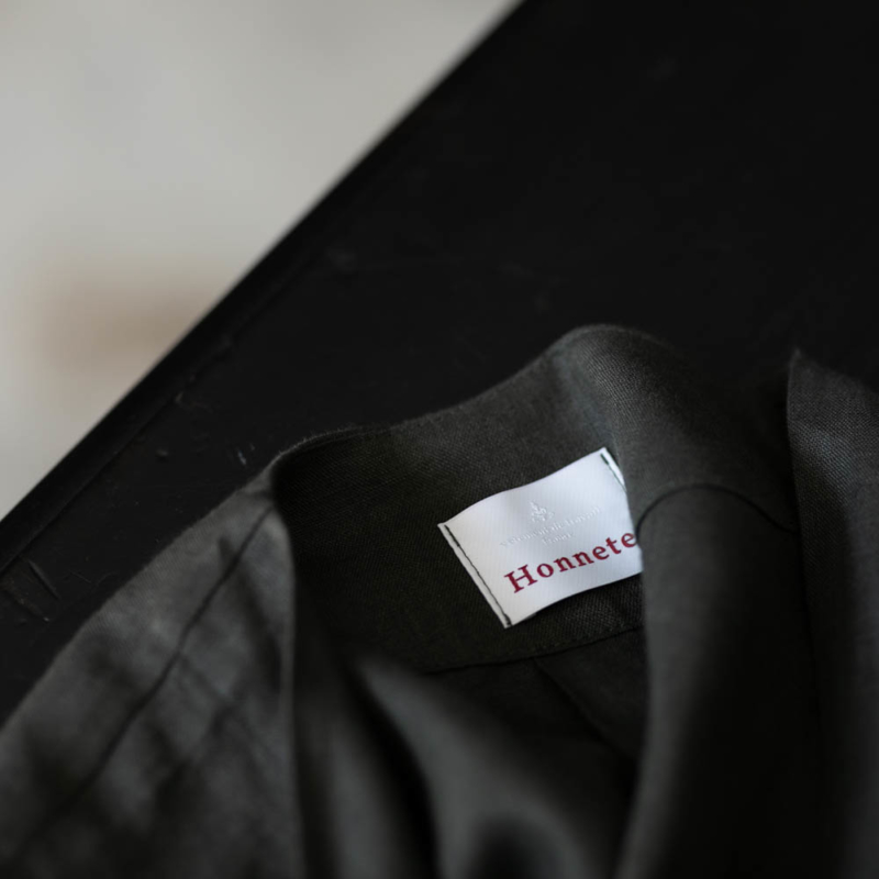 HONNETE V LONG SHIRTS CARDY PIECE DYED IRISH LINEN Arabic Greyの通販取り扱い
