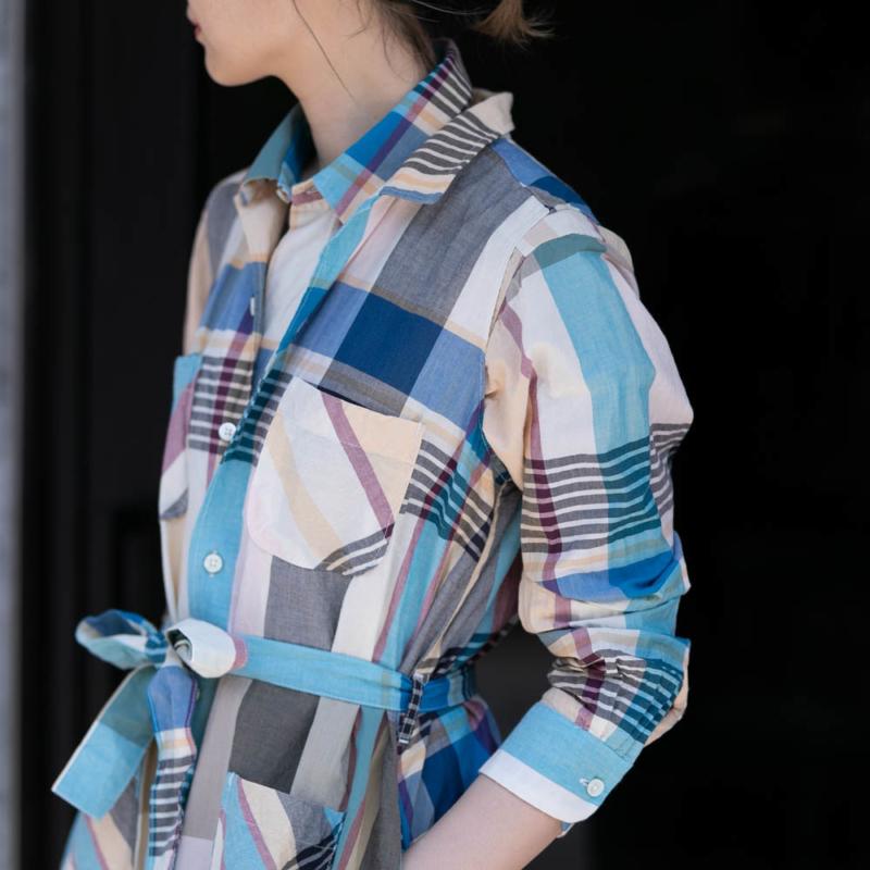 ショートカラーシャツ BIG MADRAS PLAID Khaki通販取り扱い