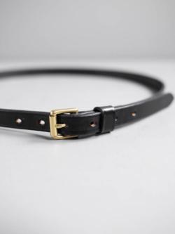 MARTIN FAIZEY | 3/4 INCH ROLLER BUCKLE LIGHT WEIGHT BRIDLE BELT Black / Brass 1.9cm幅ブライドルレザーベルトの商品画像