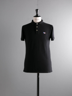 MAISON KITSUNE | POLO WITH TRICOLOR FOX PATCH Black 半袖ワッペンポロシャツの商品画像