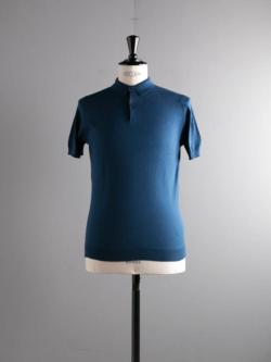 JOHN SMEDLEY | RHODES Indigo コットン半袖ポロシャツの商品画像