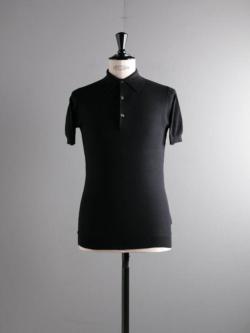 JOHN SMEDLEY | ROTH Black コットン半袖鹿の子ポロシャツの商品画像
