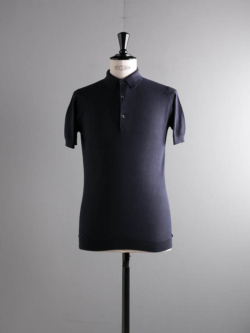 JOHN SMEDLEY | ROTH Navy コットン半袖鹿の子ポロシャツの商品画像