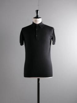 JOHN SMEDLEY | ADRIAN Black コットン半袖ポロシャツの商品画像