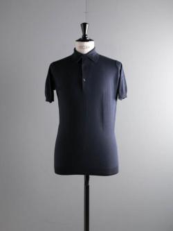 JOHN SMEDLEY | ADRIAN Navy コットン半袖ポロシャツの商品画像