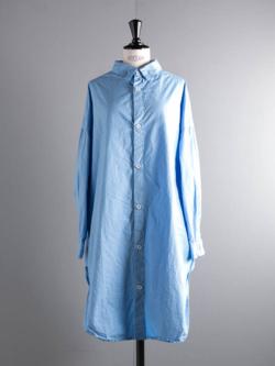 YARMO | OVERSIZED SHIRTS COTTON CAMBRIC Sax コットンオーバーサイズシャツ