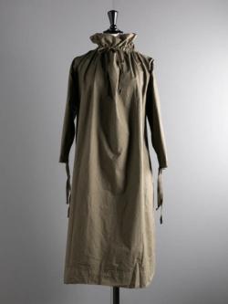 YARMO | OVER SMOCK DRESS COTTON CAMBRIC Khaki コットンオーバースモックワンピース