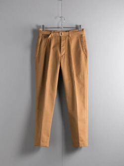 tilt The authentics | 19AW-PT01 BELTED 1TUCK CHINO TROUSERS Camel ベルテッドワンタックチノトラウザーズの商品画像