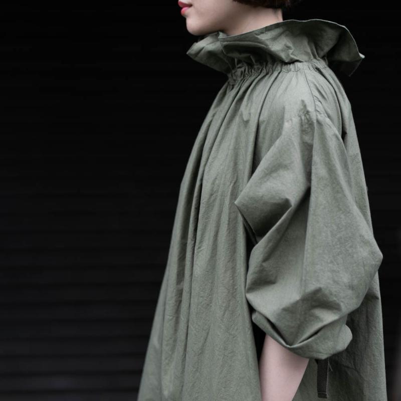ヤーモ OVER SMOCK DRESS COTTON CAMBRIC Khakiの通販取扱い