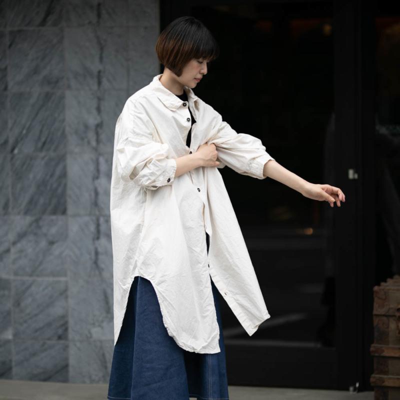 ヤーモ コットンオーバーサイズシャツ ナチュラルの取扱い店