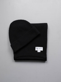 RIBBED SCARF AND HAT CASHMERE GIFT SET Black