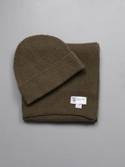 RIBBED SCARF AND HAT CASHMERE GIFT SET Khaki