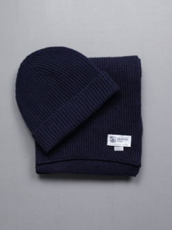 RIBBED SCARF AND HAT CASHMERE GIFT SET Navy