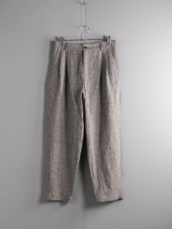 FRANK LEDER | GREY LINEN 2TUCK TROUSERS 95:Grey リネンツイードタックパンツの商品画像
