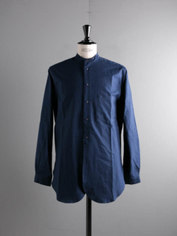 FRANK LEDER | BALTIC BLUE DYED VINTAGE BEDSHEET STAND COLLAR SHIRT 39:Navy ベッドシーツスタンドカラーシャツ