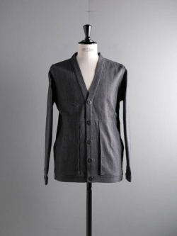 FRANK LEDER | GREY LINEN CARDIGAN WITH GUSSET POCKET 95:Grey リネンカーディガン