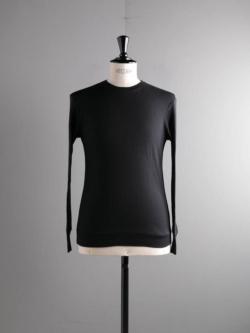 YINDIGO A M | AK006 AIR-KNIT L/S CREW T Black エアニット長袖Tシャツ